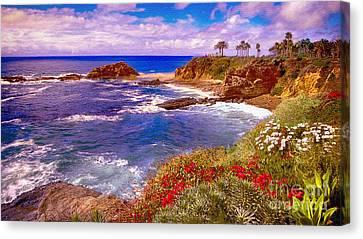 Nadine Canvas Print - Sunset Laguna Beach California by Bob and Nadine Johnston