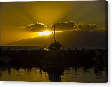 Sunset Lahaina Marina Canvas Print by Norman Blume