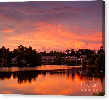 Canvas Print featuring the photograph Sunset Lake by Dale Nelson