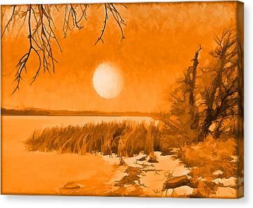 Canvas Print featuring the digital art Calm Lake Under Full Moon - Boulder County Colorado by Joel Bruce Wallach