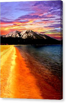 Sunset Lake Tahoe Painting Canvas Print by Bob and Nadine Johnston