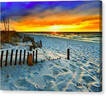 Sunset Landscape-red Beach Sunset Canvas Print