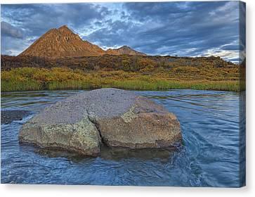 Sunset Light Hitting Angelcomb Peak And Canvas Print
