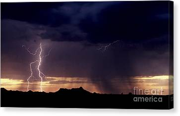 Canvas Print featuring the photograph Sunset Lightning-signed by J L Woody Wooden