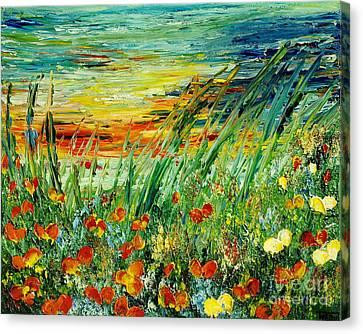 Sunset Meadow Series Canvas Print by Teresa Wegrzyn