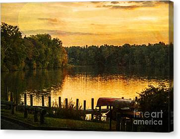 Sunset Moon Over Lake Newport Canvas Print