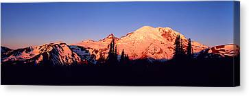 Sunset Mount Rainier Seattle Wa Canvas Print by Panoramic Images
