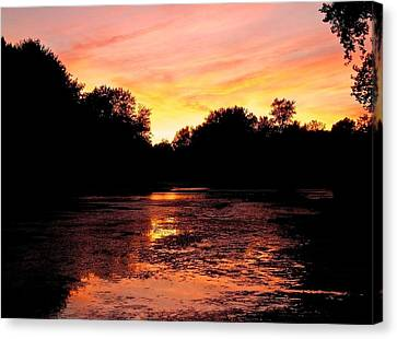 Canvas Print featuring the photograph Sunset Near Rosemere - Qc by Juergen Weiss