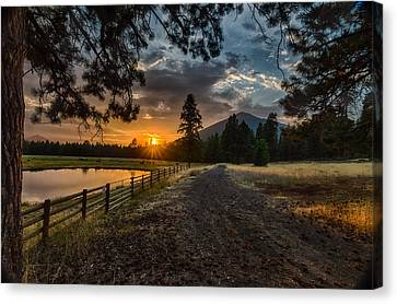 Sunset Near Sisters Oregon Canvas Print by Exquisite Oregon