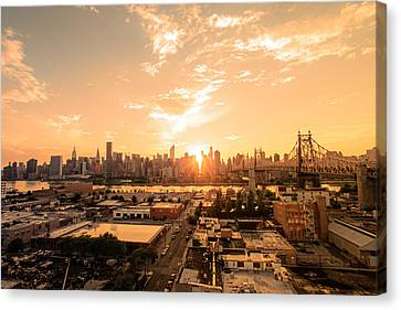 Nyc Rooftop Canvas Print - Sunset - New York City Skyline by Vivienne Gucwa