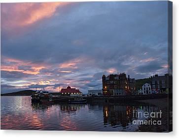 Port Town Canvas Print - Sunset Oban Scotland by Juli Scalzi