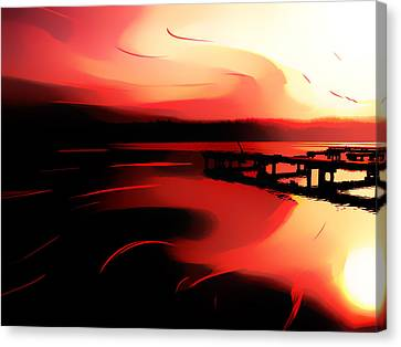 Sunset Of Fire Canvas Print by Eddie Eastwood