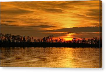 Sunset - Ohio River Canvas Print by Sandy Keeton