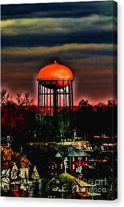 Sunset On A Charlotte Water Tower By Diana Sainz Canvas Print by Diana Sainz