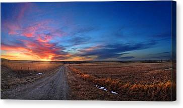 Sunset On Aa Road Canvas Print by Rod Seel