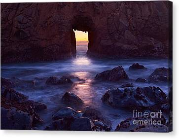 Big Sur Beach Canvas Print - Sunset On Arch Rock In Pfeiffer Beach Big Sur In California. by Jamie Pham