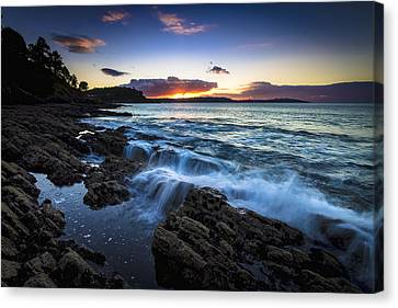 Canvas Print featuring the photograph Sunset On Ber Beach Galicia Spain by Pablo Avanzini