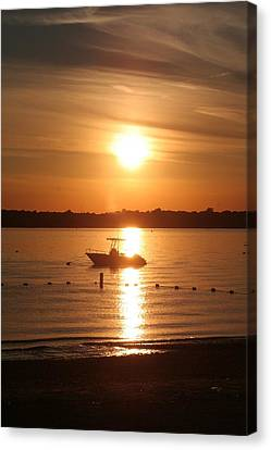 Canvas Print featuring the photograph Sunset On Boat by Karen Silvestri