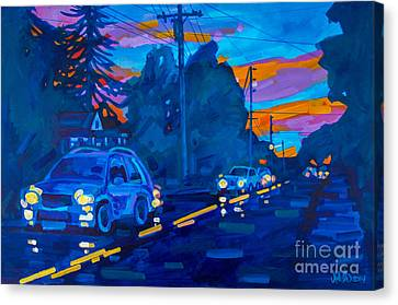 Sunset On Branch Avenue Canvas Print by Michael Ciccotello