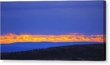 Sunset On Cadillac Mountain Acadia National Park Canvas Print by Paul Ge