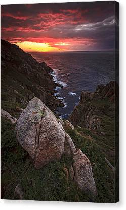 Canvas Print featuring the photograph Sunset On Cape Prior Galicia Spain by Pablo Avanzini
