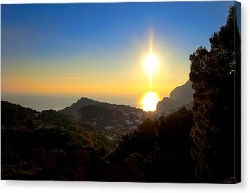 Sunset On Capri - Italy Canvas Print by Mark E Tisdale