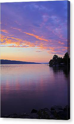 Sunset On Cayuga Lake Cornell Sailing Center Ithaca New York IIi Canvas Print by Paul Ge