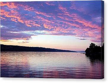 Sunset On Cayuga Lake Cornell Sailing Center Ithaca New York Canvas Print by Paul Ge