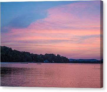 Sunset On Chickawaukee Lake Canvas Print by Ernest Puglisi