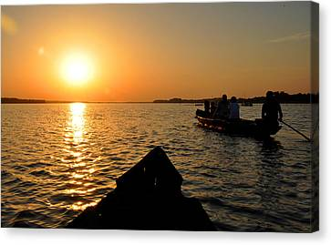 Sunset On Chilika Lake Orissa India Canvas Print by Diane Lent