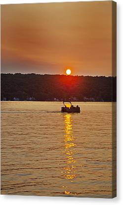 Boating Into The Sunset Canvas Print