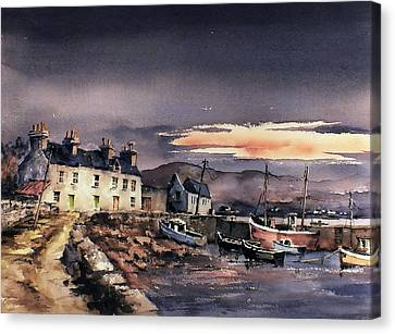 Sunset On Coraun Harbour Mayo Canvas Print