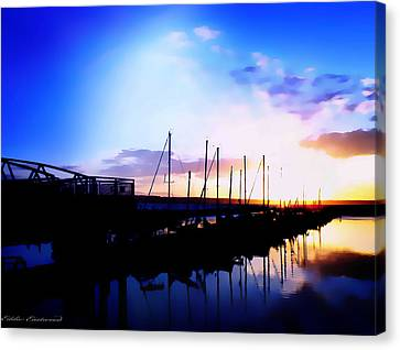 Canvas Print featuring the photograph Sunset On Edmonds Washington Boat Marina by Eddie Eastwood