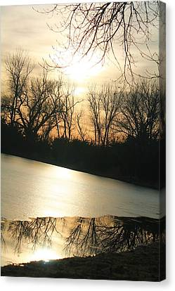 Sunset On Frozen Lake Canvas Print