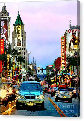 Canvas Print featuring the digital art Sunset On Hollywood Blvd by Jennie Breeze