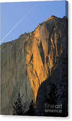 Sunset On Horsetail Fall Canvas Print by Jim and Emily Bush
