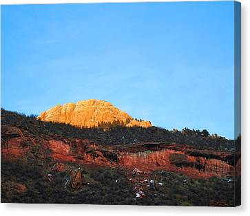 Sunset On Horsetooth Mountain Canvas Print by Ric Soulen
