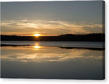 Sunset On Ice Canvas Print by Diana Boyd