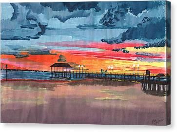 Sunset On Lake Jackson Canvas Print