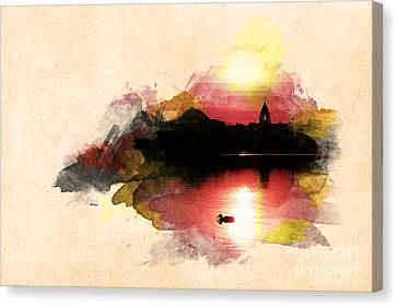 Sunset On Lake Canvas Print by Martin Dzurjanik