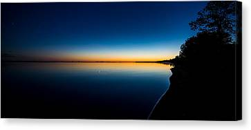 Sunset On Lake Milacs Canvas Print by Paul Freidlund
