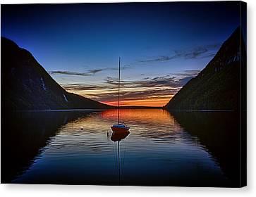 Sunset On Lake Willoughby Canvas Print by John Haldane