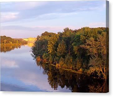 Sunset On Lake Wissota Dam Canvas Print