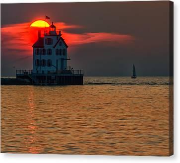 Sunset On Lighthouse Canvas Print
