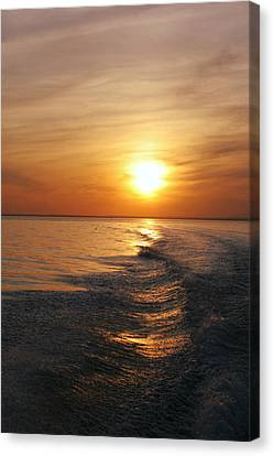 Canvas Print featuring the photograph Sunset On Long Island Sound by Karen Silvestri