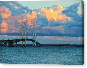 Sunset On Mackinac Bridge Canvas Print