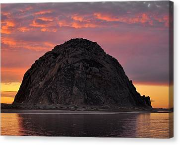 Sunset On Morro Rock Canvas Print