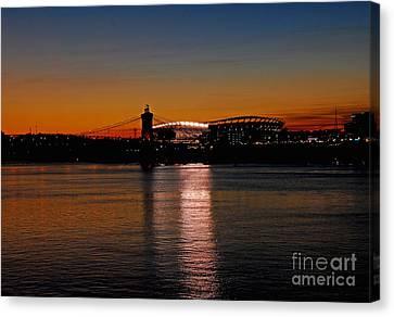 Sunset On Paul Brown Stadium Canvas Print by Mary Carol Story