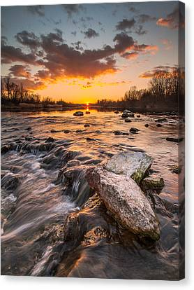 Sunset On River Canvas Print by Davorin Mance