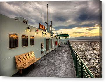 Whidbey Island Ferry Canvas Print - Sunset On Salish by Ian Good